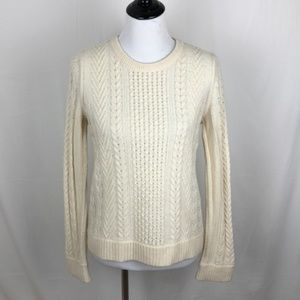 Rag & Bone Lambswool Ivory Cable Knit Sweater Sz S